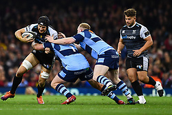 27th April 2019 , Principality Stadium , Cardiff, Wales ; Guinness pro 14's, Round 21, Cardiff Blues Vs Ospreys ; James King of Ospreys is tackled by Rhys Gill of Cardiff Blues<br /> <br /> Credit :  Craig Thomas/Replay Images