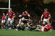 New Zealand's Jimmy Cowan looks to make a break. Invesco Perpetual series 2008 autumn international match, Wales v New Zealand at the Millennium Stadium on Sat 22nd Nov 2008. pic by Andrew Orchard, Andrew Orchard sports photography,