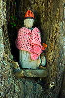 """""""Jizo"""" images and statues are popular in Japan as Bodhisattva who console beings awaiting rebirth as well as comfort for travelers. As such they are often found along roadsides, paths or even street corners.  The jizos in this image are at Kokubunji Temple in Takayama."""