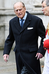 © Licensed to London News Pictures. 24/11/2016. The Duke of Edinburgh  accompanied by her Majesty The Queen, attend a Service of Thanksgiving at Westminster Abbey to celebrate the Diamond Anniversary of The Duke of Edinburgh's Award (DofE). London, UK. Photo credit: Ray Tang/LNP