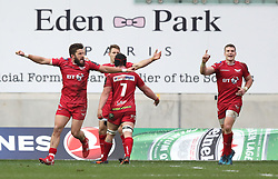 The Scarlets players celebrate winning against RC Toulon after the European Champions Cup, pool three mach at Parc y Scarlets, Llanelli.
