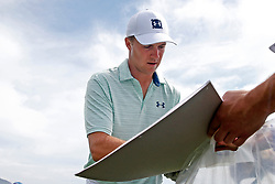 June 11, 2019 - Pebble Beach, CA, U.S. - PEBBLE BEACH, CA - JUNE 11: PGA golfer Jordan Speith signs autographs after finishing his on the 9th hole during a practice round for the 2019 US Open on June 11, 2019, at Pebble Beach Golf Links in Pebble Beach, CA. (Photo by Brian Spurlock/Icon Sportswire) (Credit Image: © Brian Spurlock/Icon SMI via ZUMA Press)
