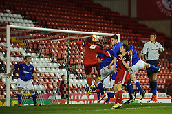 Bristol City U18s Pierce Mitchell fails to connect with a cross and sees it go wide during the second half of the match - Photo mandatory by-line: Rogan Thomson/JMP - Tel: Mobile: 07966 386802 - 04/12/2012 - SPORT - FOOTBALL - Ashton Gate Stadium - Bristol. Bristol City U18 v Ipswich Town U18 - FA Youth Cup Third Round Proper.