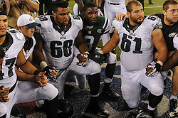 Philadelphia Eagles guard Josh Andrews (68) and Philadelphia Eagles guard Julian Vandervelde (61) after the game against the New York Jets at MetLife Stadium on Sep 3, 2015 in East Rutherford, N.J. (Photo by John Geliebter/Philadelphia Eagles)