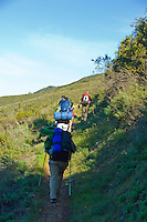 Backpackers get an early start on the trail to Sykes Hots Springs, Big Sur, California.