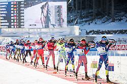 (R-L) Quentin Fillon Maillet (FRA), Evgeniy Garanichev (RUS), Jean Guillaume Beatrix (FRA), Fredrik Lindstroem (SWE), Anton Shipulin (RUS), Emil Hegle Svendsen (NOR)  during Men 15 km Mass Start at day 4 of IBU Biathlon World Cup 2015/16 Pokljuka, on December 20, 2015 in Rudno polje, Pokljuka, Slovenia. Photo by Vid Ponikvar / Sportida