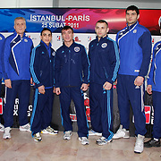 Paris United boxers seen during their Presentation and the weighing ceremony matchday 10 of the World Series of Boxing at Ahmet Comert Arena in Istanbul, Turkey, Thursday, February 24, 2011. Photo by TURKPIX