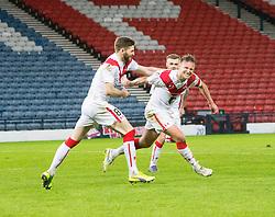 Airdrie's Iain Russell cele scoring their goal. half time : Queen's Park 1 v 1 Airdrie, Scottish Football League Division One game played 7/1/2017 at Hampden.