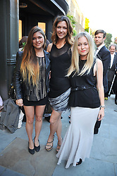 Left to right, REBECCA HOFFNUNG, MARGOT STILLEY and ALEXANDRA HOFFNUNG at a private view of an exhibition of photographs by Mike Figgis entitled 'Kate & Other Women' held at The Little Black Gallery, 13 A Park Walk, London SW10 on 22nd June 2011.