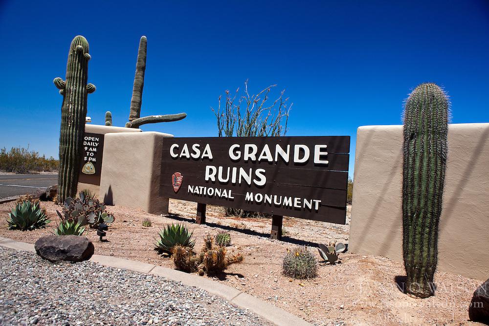 National Park Service entrance sign, Casa Grande Ruins National Monument, Coolidge, Arizona, United States of America