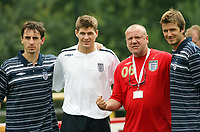 Photo: Chris Ratcliffe.<br />England Training Session. FIFA World Cup 2006. 29/06/2006.<br />Gary Neville, Steven Gerrard, Ray Winstone and David Beckham in training.