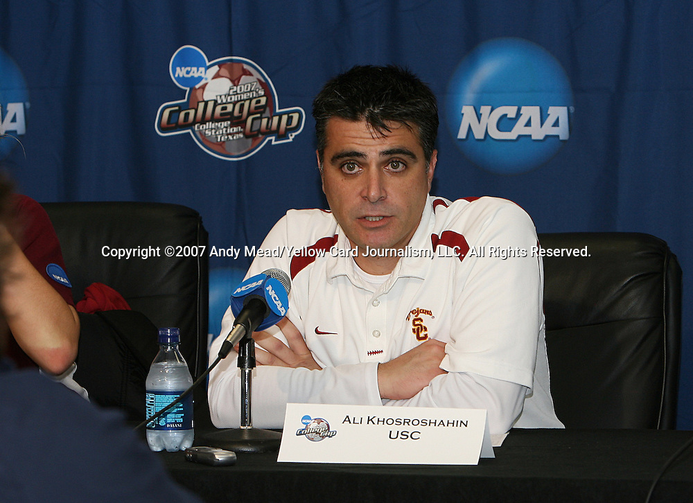 07 December 2007: USC head coach Ali Khosroshahin at the postgame press conference. The University of Southern California Trojans defeated the University of California Los Angeles Bruins 2-1 at the Aggie Soccer Stadium in College Station, Texas in a NCAA Division I Womens College Cup semifinal game.