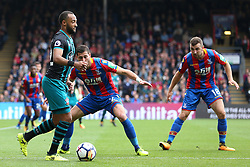 Crystal Palace's Jordon Mutch (left) and Crystal Palace's Joel Ward battle for the ball