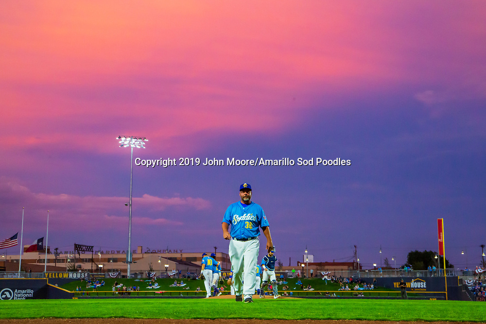 Amarillo Sod Poodles Manager Phillip Wellman walks to the dugout against the Tulsa Drillers during the Texas League Championship on Wednesday, Sept. 11, 2019, at HODGETOWN in Amarillo, Texas. [Photo by John Moore/Amarillo Sod Poodles]