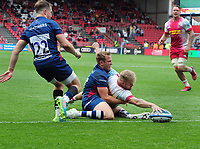 Rugby Union - 2020 / 2021 Gallagher Premiership - Semi-Final - Bristol Bears vs Harlequins - Ashton Gate<br /> <br /> Tyrone Green of Harlequins dives over in extra time to score his try<br /> <br /> Credit : COLORSPORT/Andrew Cowie