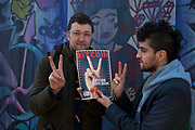 WATERLOO, LONDON, UK - APRIL 1, 2013. Amir Taaki and Jonathan James Harrison. Holding a copy of Bitcoin magazine outside the squat where subjects working with Bitcoin operate and live. This squat is also where Occupy London activists are based. (Photo by Mike Kemp / For The Washington Post.)