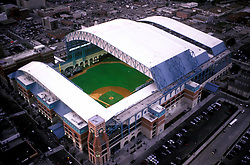 Stock photo of an aerial view of Minute Maid Park with the roof open for an Astros baseball game