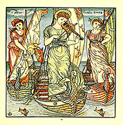 I saw Three Ships 3 pretty girls in the ship entertaining at a wedding held on New Year's Day From the Book '  The baby's opera : a book of old rhymes, with new dresses by Walter Crane, and Edmund Evans Publishes in London and New York by F. Warne and co. in 1900