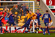 Curtis Main of Motherwell with a headed chance from close range during the Ladbrokes Scottish Premiership match between Motherwell and Heart of Midlothian at Fir Park, Motherwell, Scotland on 17 February 2019.