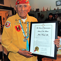 Navajo Code Talker John Kinsel, Sr. receives a proclamation issued by New Mexico House of Representatives for being the Oldest Surviving Code Talker at 97 years old. Kinsel received the proclamation at a Gathering of Heroes sponsored by Dr. Robert Belfon in Tijeras, NM. A bio of Mr. Kinsel was read and presented the award Saturday August 11, 2018.