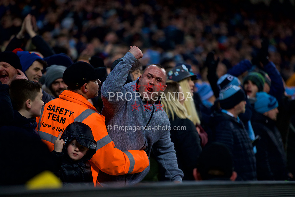 MANCHESTER, ENGLAND - Thursday, January 3, 2019: A Manchester City supporter taunts the visiting fans during the FA Premier League match between Manchester City FC and Liverpool FC at the Etihad Stadium. (Pic by David Rawcliffe/Propaganda)