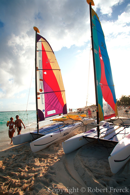 MEXICO, YUCATAN, TOURISM 'Riviera Maya; sailboats on beach