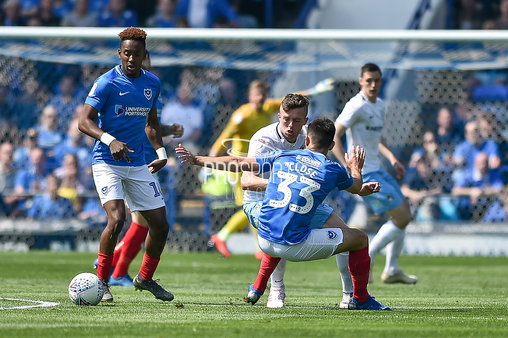 Portsmouth Midfielder, Ben Close (33) wins the ball during the EFL Sky Bet League 1 match between Portsmouth and Coventry City at Fratton Park, Portsmouth, England on 22 April 2019.