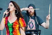 Lana Del Rey plays the Pyramid stage. The 2014 Glastonbury Festival, Worthy Farm, Glastonbury. 28 June 2013.