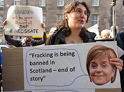 Edinburgh, Scotland, UK. 27 April, 2019. SNP ( Scottish National Party) Spring Conference takes place at the EICC ( Edinburgh International Conference Centre) in Edinburgh. Anti fracking protest outside conference venue.
