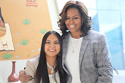 """Michelle Obama releases a photo on Instagram with the following caption: """"I met Charisma Quiroz when I visited the Gila River Indian Community in Arizona last month. She\u2019s a first-generation college sophomore at the University of Arizona studying political science and environmental science. In addition to working hard in her classes, Charisma is involved with a program on campus that offers support to first-generation college students. After graduation, Charisma plans to bring her knowledge back to her tribe by focusing on agriculture and water rights in her community. She also wants to help other young people on tribal lands pursue higher education. Charisma is a terrific example of what happens when we invest in young women\u2014they pay it forward with investments of their own.\n\nThanks for letting me share these inspiring stories with you during #WomensHistoryMonth! Do you know a young person who's changing their community? I want to hear about them \u2014 please share their story below! #IamBecoming #FlashbackFriday #ReachHigher"""". Photo Credit: Instagram *** No USA Distribution *** For Editorial Use Only *** Not to be Published in Books or Photo Books ***  Please note: Fees charged by the agency are for the agency's services only, and do not, nor are they intended to, convey to the user any ownership of Copyright or License in the material. The agency does not claim any ownership including but not limited to Copyright or License in the attached material. By publishing this material you expressly agree to indemnify and to hold the agency and its directors, shareholders and employees harmless from any loss, claims, damages, demands, expenses (including legal fees), or any causes of action or allegation against the agency arising out of or connected in any way with publication of the material."""