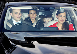 Lord Frederick Windsor with his wife Sophie Winkleman leaving the Queen's Christmas lunch at Buckingham Palace, London.