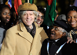 Bob Geldof and Archbishop Desmond Tutu join delegates from around the world at the One Young World summit, at Old Billingsgate Market in central London.