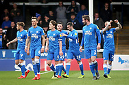 Peterborough Utd forward Marcus Maddison (21) celebrates his goal with team mates during the EFL Sky Bet League 1 match between Peterborough United and Wycombe Wanderers at London Road, Peterborough, England on 2 March 2019.