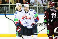 Ishockey, 22. oktober 2012 , KHL - Kontinental Hockey League<br /> Dinamo Riga - Metallurg Magnitogorsk 2-5<br /> <br /> Sergei Mozyakin (10) og Viktor Antipin  , Metallurg Magnitogorsk