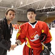 Chinese player of the match Wang Tiannan after the China V Turkey match during the 2012 IIHF Ice Hockey World Championships Division 3 held at Dunedin Ice Stadium. Dunedin, Otago, New Zealand. 19th January 2012. Photo Tim Clayton