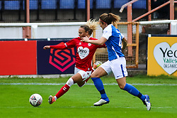 Ebony Salmon of Bristol City Women crosses the ball- Mandatory by-line: Will Cooper/JMP - 18/10/2020 - FOOTBALL - Twerton Park - Bath, England - Bristol City Women v Birmingham City Women - Barclays FA Women's Super League