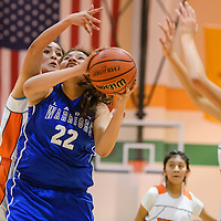 Navajo Pine Warrior Gikoby Catron (22) attempt to get past a block from Gallup JV Bengal Journey Gilson (23) Thursday at Wingate High School.