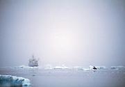 Research vessel with working scientists, Antarctic Peninsula, Antarctica