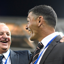 BRISBANE, AUSTRALIA - NOVEMBER 19: Brisbane Roar coach John Aloisi reacts to Sydney FC coach Graham Arnold during the round 7 Hyundai A-League match between the Brisbane Roar and Sydney FC at Suncorp Stadium on November 19, 2016 in Brisbane, Australia. (Photo by Patrick Kearney/Brisbane Roar)
