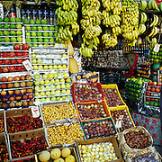 Cairo, Egypt - Fruit sellers stall near the citadal with vibrantly displayed fruits.