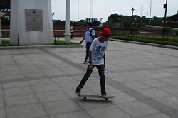 June 21, 2017 - Philippines - A boy rides his skateboard at Kilometer Zero in Manila on Go Skateboarding Day, June 21, 2017. Go Skateboarding Day was conceived in 2004 by the International Association of Skateboarding Companies (IASC) to promote skateboarding as a sport. (Credit Image: © Richard James M. Mendoza/Pacific Press via ZUMA Wire)