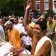 New York  , Hare krishna  parade in washington square .  United states