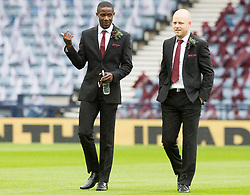 Heart of Midlothian's Arnaud Djoum (left) and Steven Naismith prior to the William Hill Scottish Cup Final at Hampden Park, Glasgow.