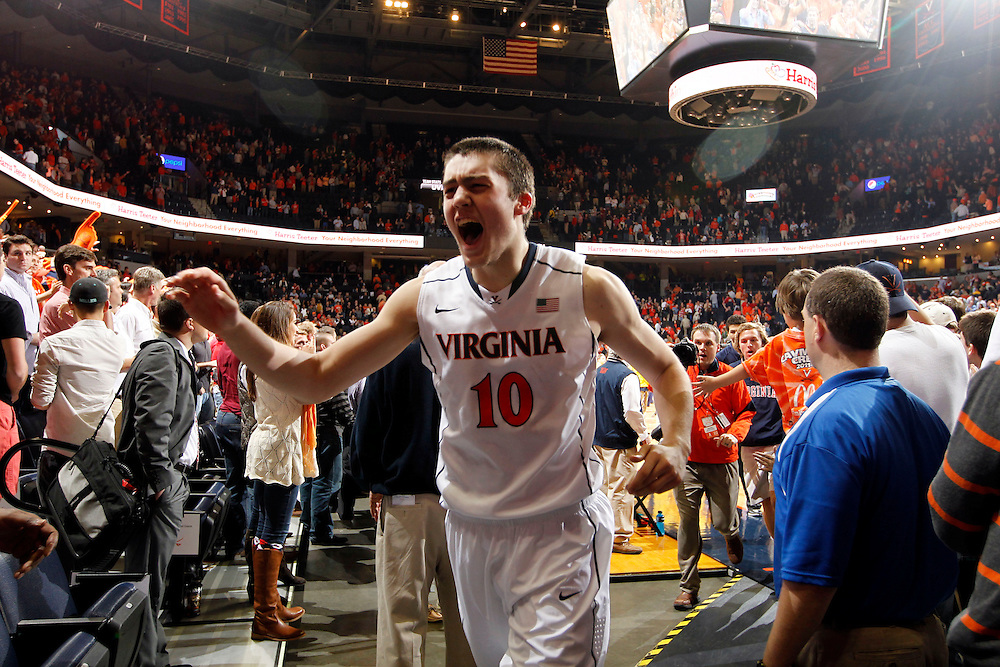 Virginia forward/center Mike Tobey (10) reacts during the game against NC State Saturday in Charlottesville, VA. Virginia defeated NC State 58-55.