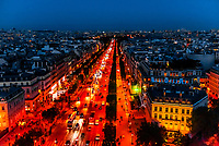 Traffic at twilight along the Champs Elysees, looking from Place de l'Etoile to Place de la Concorde, Paris, France.