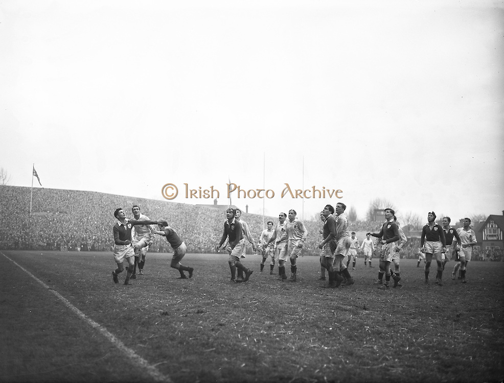 Irish Rugby Football Union, Ireland v England, Five Nations, Landsdowne Road, Dublin, Ireland, Saturday 14th February, 1953,.14.2.1953, 2.14.1953,..Referee- MR A W C Austin, Scottish Rugby Union, ..Score- Ireland 9 - 9 England, ..Irish Team,..R J Gregg, Wearing number 15 Irish jersey, Full Back, Queens University Rugby Football Club, Belfast, Northern Ireland,..M F Lane,  Wearing number 14 Irish jersey, Right wing, University college Cork Football Club, Cork, Ireland,  ..N J Henderson, Wearing number 13 Irish jersey, Right centre, N.I.F.C, Rugby Football Club, Belfast, Northern Ireland,..K Quinn, Wearing number 12 Irish jersey, Left Centre, Old Belvedere Rugby Football Club, Dublin, Ireland,  ..M Mortell, Wearing number 11 Irish jersey, Left wing, Bective Rangers Rugby Football Club, Dublin, Ireland,.  .J W Kyle, Wearing number 10 Irish jersey, Stand Off, Captain of the Irish team, N.I.F.C, Rugby Football Club, Belfast, Northern Ireland,..J A O'Meara, Wearing number 9 Irish jersey, Scrum, University college Cork Football Club, Cork, Ireland,  ..W A O'Neill, Wearing number 1 Irish jersey, Forward, University College Dublin Rugby Football Club, Dublin, Ireland, ..R Roe, Wearing number 2 Irish jersey, Forward, Dublin University Rugby Football Club, Dublin, Ireland,..F E Anderson, Wearing number 3 Irish jersey, Forward, Queens University Rugby Football Club, Belfast, Northern Ireland,..T E Reid, Wearing number 4 Irish jersey, Forward, Garryowen Rugby Football Club, Limerick, Ireland, ..J R Brady, Wearing number 5 Irish jersey, Forward, C I Y M S Rugby Football Club, Belfast, Northern Ireland, . . J S McCarthy, Wearing number 6 Irish jersey, Forward, Dolphin Rugby Football Club, Cork, Ireland, ..R Kavanagh, Wearing number 7 Irish jersey, Forward, University College Dublin Rugby Football Club, Dublin, Ireland,..W E Bell, Wearing number 8 Irish jersey, Forward, Collegians Rugby Football Club, Belfast, Northern Ireland,..Engish Team,..N M Hall, Wearing number 1 Engish jerse