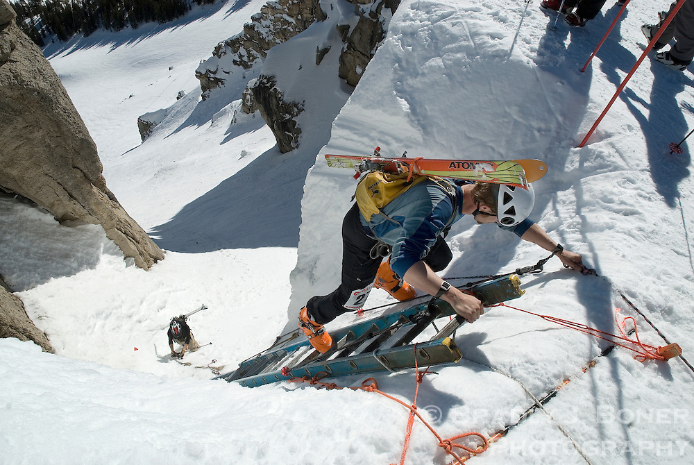 Kyle Tranby of Jackson tops out of Corbet's Couloir while competing in the randonnee rally at Jackson Hole Mountain Resort.