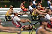 Lucerne, SWITZERLAND, AUS M2- Bow Drew GINN and Duncan FREE, competing at the 2007 FISA World Cup, Lucerne, on the Rotsee Lake, 13/07/2007  [Mandatory Credit Peter Spurrier/ Intersport Images] , Rowing Course, Lake Rottsee, Lucerne, SWITZERLAND.
