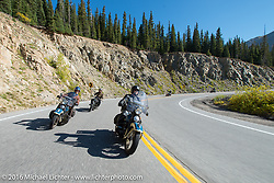 Paul D'Orleans (L) riding Ken McManus' 1936 Harley-Davidson Knucklehead alongside Matt McManus on his 1936 Harley-Davidson Knucklehead after crossing the Continental Divide at Loveland Pass during Stage 10 (278 miles) of the Motorcycle Cannonball Cross-Country Endurance Run, which on this day ran from Golden to Grand Junction, CO., USA. Monday, September 15, 2014.  Photography ©2014 Michael Lichter.