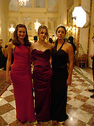Francesca Spoerry, Imogen Hervey-Bathurst and  Jenna Barclay. Crillon Debutante Ball. Getting ready. Crillon Hotel. Paris. 26 November 2004. ONE TIME USE ONLY - DO NOT ARCHIVE  © Copyright Photograph by Dafydd Jones 66 Stockwell Park Rd. London SW9 0DA Tel 020 7733 0108 www.dafjones.com